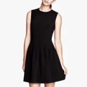 H&M Fit and Flare Black Gold Zipper Accent Dress